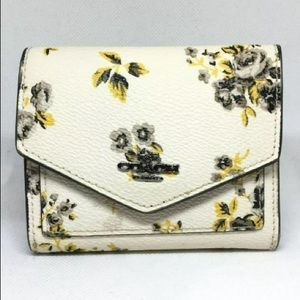 Authentic Coach Floral White Yellow Wallet